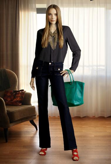 2c445d2fd Camisa de seda preta com jeans escuro. Aqui coloquei um colar dourado que  faz a roupa, quebrei o escuro do look com a sandália vermelha e a bolsa  verde!!