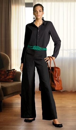 b6619e80f1 Camisa de seda preta com calça alfaiataria – Esse look é perfeito para o  trabalho